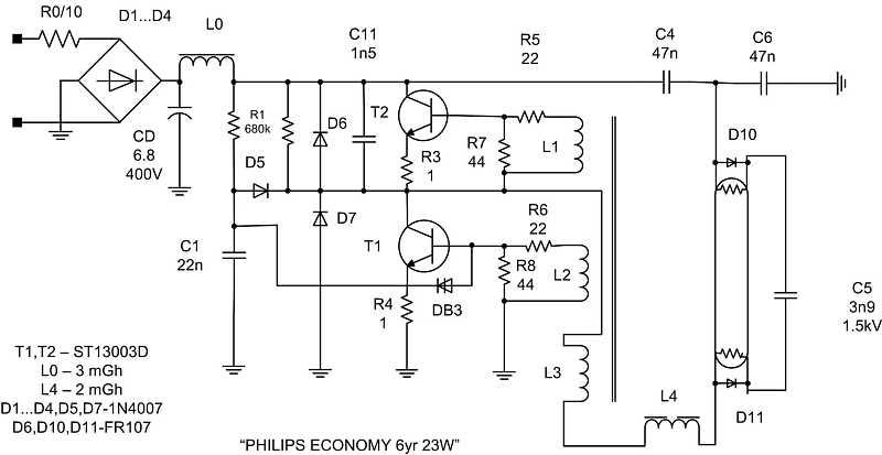 Вот те схема преобразователя который чаще всего применяется в энергосберегающих лампах.  Динистор DB3 нужен для.