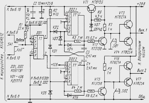 Принципиальная схема первичных часов приведена на рисунке.  Для упрощения на ней не показан генератор минутных...