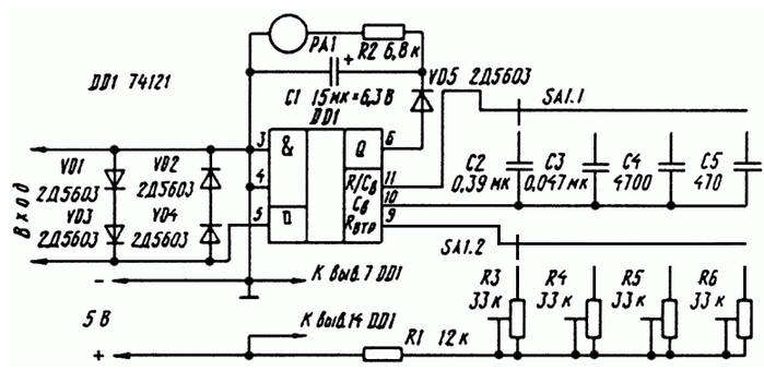 На рисунке показана схема частотомера с использованием одновибратора в... Длительность генерируемого устройством...