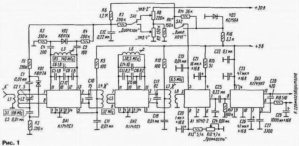 В данной схеме тракт пч выполнен по схеме с двойным преобразованием частоты на импортной микросхеме тар, включенной по упрощенной схеме с минимумом навесных элементов.