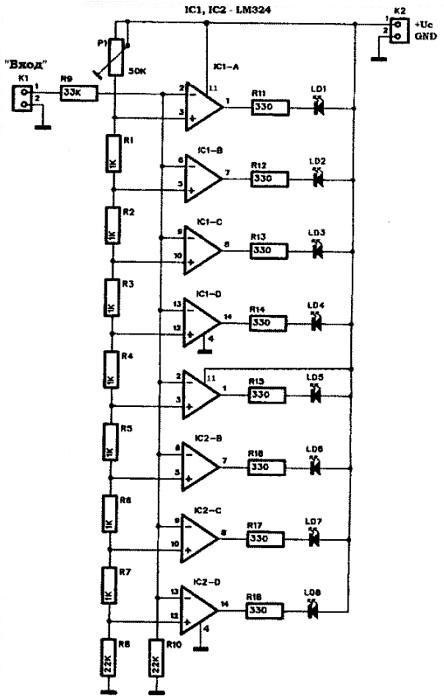 LED индикатор сигнала для УНЧ