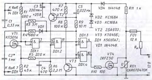 Схема рис.1:Предлагаемый ниже прерыватель тока ... потребители тока.  Устройство:Принципиальная схема прерывателя...